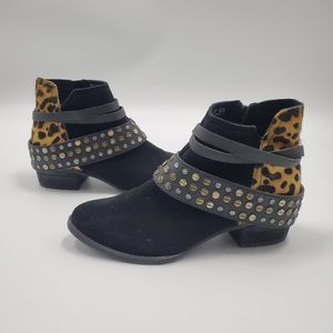 Naughty Monkey Studded Strappy Ankle Boots Leopard